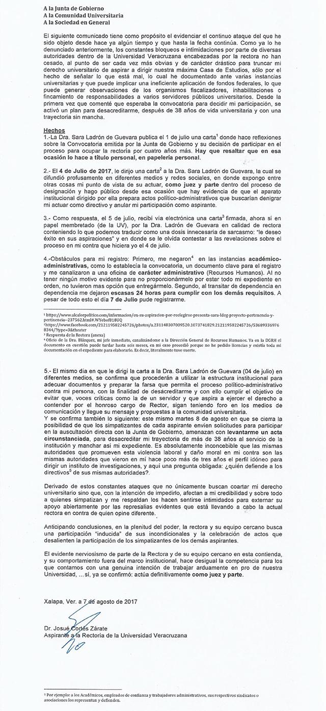 Josué Cortés, aspirante a Rector, denuncia intimidaciones de parte ...