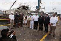 Veracruz, Ver., 27 de febrero de 2015.- Durante la ceremonia en los Talleres Navales del Golfo diversas autoridades mar�timas resaltaron la importancia de la construcci�n de estos remolcadores despu�s de casi un cuarto de siglo de no desarrollarse trabajo alguno en este Puerto.