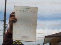 Xalapa, Ver., 28 de febrero de 2015.- La invasi�n de predios, ejidos, �reas verdes e inclusive lotes escriturados, es una acci�n que se est� convirtiendo en algo habitual ante la inoperancia de las autoridades.