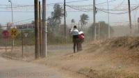 Veracruz, Ver., 5 de marzo de 2015.- La fuertes rachas de viento levantaron tolvaneras y se han destechado algunas infraestructuras como la secundaria ubicada en Geo Los Pinos. As� tambi�n se desplom� un andamio sobre veh�culos.
