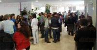 Xalapa, Ver. 6 de marzo de 2015.- Reportan protesta de trabajadores en el �rea de presidencia del Tribunal Superior de Justicia, por falta de pago de salario y compensaci�n compactada.