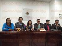Xalapa, Ver., 6 de marzo de 2015.- Diputados de diferentes estados y l�deres migrantes ofrecen conferencia de prensa, previo al congreso nacional de la Coordinaci�n Nacional de Legisladores y Migrantes (CONALYM).