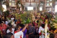 Acayucan, Ver., 29 de marzo de 2015.- Cientos de feligreses cat�licos se congregaron en la parroquia San Mart�n Obispo para celebrar el Domingo de Ramos. En la misa fueron exhortados a pensar en el bienestar de la sociedad y orar por la naci�n.