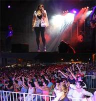 Banderilla, Ver., 25 de abril de 2015.- Al finalizar el concierto, Yuridia agradeci� al Comit� de la Expo Feria 2015 por la invitaci�n a la mejor feria de la zona centro del Estado, adem�s, dedic� el concierto a los banderillenses.