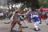 M�xico, D.F, 5 de mayo de 2015.- Familias de la colonia Pe��n de los Ba�os escenificaron la Batalla de Puebla en su 153 aniversario y para destacar el triunfo de los mexicanos sobre los franceses.