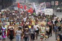 M�xico, DF, 23 de mayo de 2015.- Activistas y defensores del medio ambiente y de la salud humana marcharon del �ngel de la Independencia al Monumento a la Revoluci�n para exigir la salida de M�xico de la empresa de �Transg�nicos Monsanto�.