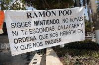 Veracruz, Ver.- 24 de mayo de 2015. El grupo de manifestantes que se mantiene en huelga de hambre en el z�calo de la ciudad por la negativa del Ayuntamiento de Veracruz en cumplir con el pago de laudos laborales, asever� que han recibido intimidaciones de personas enviadas por la Direcci�n de Gobernaci�n.