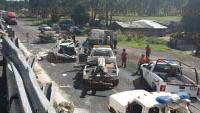 Puebla, Pue., 28 de julio de 2015.- Vuelca ambulancia de la SS de Veracruz sobre la autopista M�xico-Puebla, cuando trasladaban a paciente a hospital del DF; no se reportan p�rdidas humanas, pero se habla de 4 lesionados, incluyendo a la paciente que transportaban.