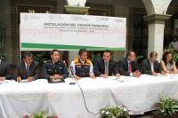 Xalapa, Ver., 29 de julio de 2015.- El alcalde Am�rico Z��iga Mart�nez durante la instalaci�n del Comit� Municipal de Protecci�n contra Riesgos Sanitarios del Municipio, en el patio central de Palacio Municipal.