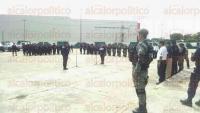 Minatitl�n, Ver., 28 de agosto de 2015.- El arribo de los nuevos agentes tuvo lugar durante la entrega de mando y operatividad de la Delegaci�n de la Regi�n XVII de la Polic�a Estatal.