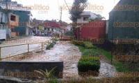 Xalapa, Ver., 1 de septiembre de 2015.- Una fuerte lluvia provoc� el desbordamiento del r�o Carneros, a la altura del Fraccionamiento San Bruno, la tarde de este martes.