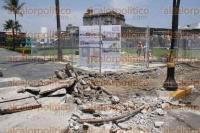 Veracruz, Ver., 3 de septiembre de 2015.- Los trabajos de remodelaci�n y embellecimiento en el Baluarte de Santiago de la ciudad, fueron suspendidos temporalmente.
