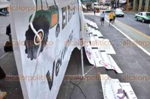 Xalapa, Ver., 7 de octubre de 2015.- Se manifiestan integrantes defraudados de la Coordinadora de Organizaciones Populares de Veracruz en Plaza Lerdo, exigen a SEFIPLAN el pago de sus ahorros.