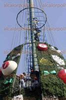 M�xico, DF, 30 de noviembre de 2015.- En el Z�calo, trabajadores contin�an instalando el mega �rbol de navidad y los equipos de refrigeraci�n para las pistas de la fiesta decembrina que organiza el Gobierno del DF para disfrute de capitalinos y visitantes.