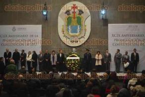 Xalapa, Ver., 5 de febrero de 2016.- XCIX aniversario de la promulgaci�n de la Constituci�n de 1857; presente el secretario de Gobierno, Flavino R�os Alvarado.