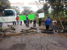Atzalan, Ver., 5 de febrero de 2016.- Con pancartas colgadas de una cuerda y ramas de �rboles atravesadas en la carretera federal Tlapacoyan-Perote, pobladores impiden el paso vehicular.