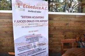 Xalapa, Ver., 29 de abril de 2016.- Miembros de Ecoeduca A.C., en conferencia de prensa, dieron a conocer el taller