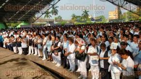 Poza Rica, Ver., 1 de mayo de 2016. Aunque se suspendi� el desfile del D�a del Trabajo, el alcalde Sergio Lorenzo Quiroz organiz� un evento que reuni� a cientos de trabajadores en el domo la plaza �18 de marzo�.