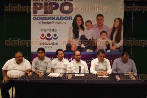 Xalapa, Ver., 3 de mayo de 2016.- Candidatos del PES dan a conocer c�mo ser� su campa�a para las elecciones a diputados; presentes el dirigente estatal Gonzalo Gu�zar y el candidato a gobernador �Pipo� V�zquez.