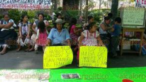 Orizaba, Ver., 24 de mayo de 2016.- En un improvisado campamento, un grupo de 12 comerciantes de Ixhuatlancillo se pasea por turnos escoltando a los dos que iniciaron huelga hace unas horas.
