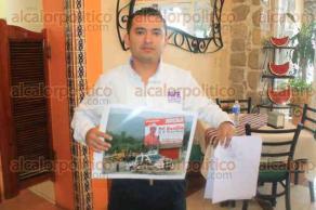 Papantla, Ver., 27 de mayo de 2016.- El presidente del comit� directivo municipal de Alternativa Veracruzana, F�lix P�rez Jim�nez, dio a conocer la denuncia presentada ante la FGE y OPLE contra el alcalde de Coyutla, Jos� Benito Picazo P�rez, por presuntos delitos electorales.