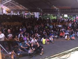 Xalapa, Ver., 25 de junio de 2016.- El director de la banda Big Band, Pete McGuinness, se present� en el parque Benito Ju�rez como parte de las actividades del Xalapa Jazz Festival