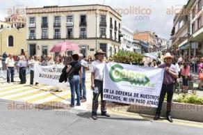 Xalapa, Ver., 1 de julio de 2016.- Agremiados a la COPIPEV bloquean la calle Enr�quez, en protesta por el pago de sus pensiones; posteriormente decidieron marchar por diversas calles.
