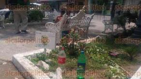 Veracruz, Ver., 27 de julio de 2016.- Ante la escasez de agua en la colonia Centro, ni�as llenan botellas de las tomas de agua del �Parque de la Madre� para llevar el vital l�quido a sus domicilios.