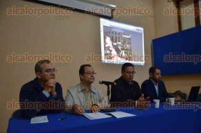 Xalapa, Ver., 23 de agosto de 2016.- Efra�n Qui�ones, Alberto Olvera, Alfredo Zavaleta y Ernesto Trevi�o anunciaron el coloquio �Veracruz, crisis, alternancia y resistencia�, los d�as 7 y 8 de septiembre en la USBI, organizada por el cuerpo acad�mico de Estudios Hist�rico-Sociales.