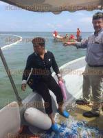 Veracruz, Ver., 29 de septiembre de 2016.- El procurador de Medio Ambiente del Estado, Dalos Ulises Rodr�guez Vargas, este jueves inspeccion� las aguas del Golfo de M�xico tras el incendio del buque