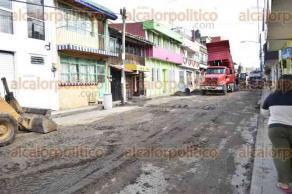 Xalapa, Ver., 27 de octubre de 2016.- As� se puede apreciar el avance de obra de la Calle Francisco Sarabia, entre la avenida 20 de Noviembre y P�pila.