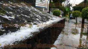 Xalapa, Ver., 24 de mayo de 2017.- La mañana de este miércoles se registró la caída de granizo por la zona de Plaza Américas y fraccionamiento Las Ánimas.