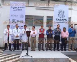 Xalapa, Ver., 27 de junio se 2017.- El delegado del IMSS en la zona norte del Estado, Antonio Benítez Lucho y el alcalde Américo Zúñiga, inauguraron la Jornada de Salud CMAS-IMSS, en el Centro Administrativo Municipal.