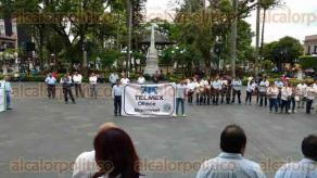 Córdoba, Ver., 25 de julio de 2017.- Este martes, trabajadores de TELMEX adheridos a la Sección 14 del Sindicato de Telefonistas de la República Mexicana se manifestaron contra la división de la empresa, como lo plantean nuevas disposiciones de IFETEL.