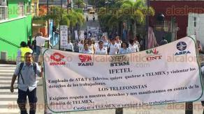 Córdoba, Ver., 26 de julio de 2017.- Con una marcha por las principales calles de la ciudad, la Sección 14 del Sindicato de Telefonistas de la República Mexicana externó su rechazo a la propuesta del IFETEL de dividir a Teléfonos de México.