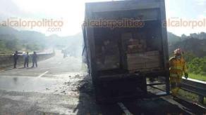 Perote, Ver., 23 de septiembre de 2017.- Un camión se incendió mientras circulaba sobre el libramiento Banderilla-Perote, según los informes una falla mecánica en los frenos originó el siniestro, no se reportan personas lesionadas.