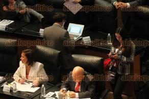 Ciudad de México, 22 de noviembre de 2017.- El secretario de Gobernación, Miguel Ángel Osorio Chong, compareció ante el pleno del Senado