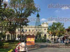 Córdoba, Ver., 24 de noviembre de 2017.- A una semana de que inicie el mes de diciembre, personal de diversas áreas del Ayuntamiento empezó a instalar el tradicional pino de Navidad en la explanada del parque 21 de Mayo.