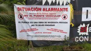 Xalapa, Ver., 19 de abril de 2018.- A pesar de que vecinos de Las Ánimas se oponen a la construcción del puente