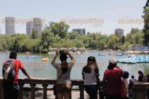 Ciudad de México, 26 de mayo de 2018.- Capitalinos y visitantes disfrutan del paisaje que brinda paseo de la Reforma con la Diana Cazadora, el Ángel de la Independencia, el lago de Chapultepec y la Casa del Lago.