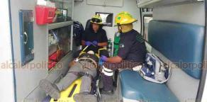 Rafael Lucio, Ver., 22 de septiembre de 2018.- Luego de la volcadura de un tráiler sobre la carretera Xalapa-Perote y de que fuera rescatada la conductora, comenzó la rapiña de la mercancía por parte de las personas presentes.