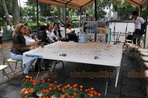 Xalapa, Ver., 14 de octubre de 2018.- En el parque Juárez, el voluntariado del DIF Municipal, encabezado por Rosío Córdova, instaló un stand para recaudar donaciones para la población más humilde de la ciudad; el alcalde Hipólito Rodríguez hizo un llamado para invitar a la sociedad xalapeña para que done medicamentos, leche y pañales.