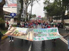 Xalapa, Ver., 20 de octubre de 2018.- Aún con la lluvia, ciudadanos salieron a marchar del Teatro del Estado con dirección al Centro para defender la vida.