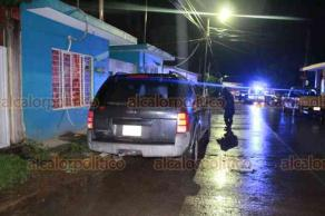 Martínez de la Torre, Ver., 13 de noviembre de 2018.- La noche de este martes, un hombre fue ejecutado dentro de su camioneta una Ford Explorer color azul marino.