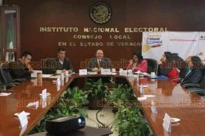 Xalapa, Ver., 17 de diciembre de 2018.- El consejero presidente de la Junta Local del INE, Josué Cervantes Martínez junto al Comité organizador informó resultados de la Consulta Infantil y Juvenil 2018.