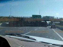 Veracruz, Ver., 17 de diciembre de 2018.- Luego de la volcadura de un  tráiler con contenedor sobre la autopista Veracruz-Cardel, en el entronque con la carretera del kilometro 13.5, el carril hacia Veracruz quedó bloqueado por un rato, mientras retiraban la unidad.