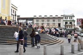Xalapa, Ver., 17 de enero de 2019.- Militantes Cardenistas se reúnen en Plaza Lerdo para esperar a su dirigente Antonio Luna, quien les dará un mensaje.