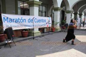 Xalapa, Ver., 20 de marzo de 2019.- En el patio central del Palacio Municipal se celebra el Día Internacional de la Narración Oral, con una jornada de maratón de cuentos.