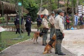 Papantla, Ver., 20 de marzo de 2019.- Fuerte presencia de elementos de la Policía estatal y Fuerza Civil, en el Parque temático Takilhsukut en donde se inaugurará la Cumbre Tajín 2019.