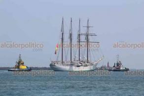 """Veracruz, Ver., 24 de marzo de 2019.- Tras una breve estancia en el puerto de Veracruz, la tarde de este domingo zarpó el buque-escuela español """"Juan Sebastián Elcano"""" rumbo a Pensacola, Estados Unidos."""